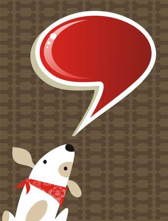 perro caricatura: Moda medios de comunicaci�n social del perro con el bocadillo sobre fondo marr�n. Archivo disponible