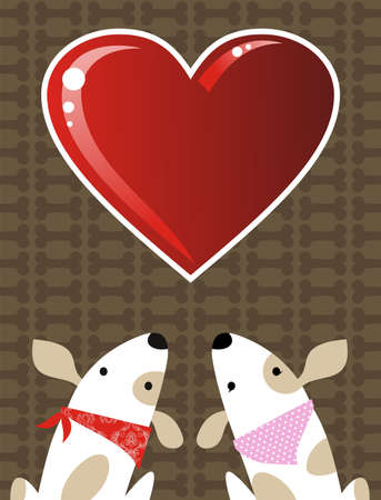 Romantic Valentines red love heart and dog couple background.   Vector