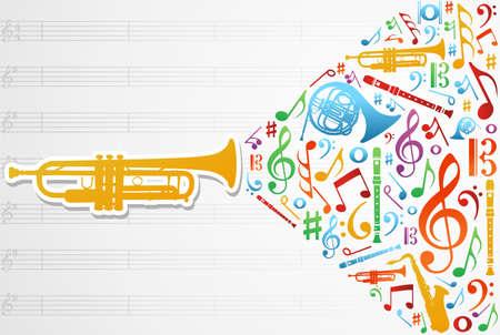 dwarsfluit: Veelkleurige muziekinstrumenten silhouet en elementen over pentagram samenstelling achtergrond.