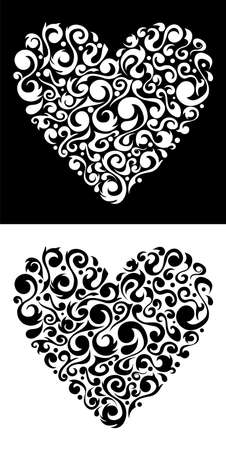 purple heart: Flower love heart silhouette black and white shape background.  file available. Illustration