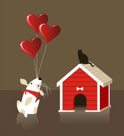 The dog gives to the cat a lot of balloons with red lovely heart shape. file available. Vector