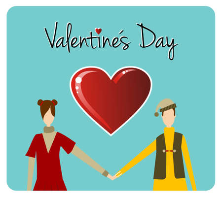 romance love: Happy valentines day greeting card background: young couple hand in hand with heart likes shape. Illustration