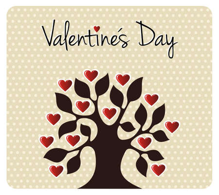 Tree silhouette with heart leaves shapes. Postcard background for Valentines day. Vector file available. Stock Vector - 12166765