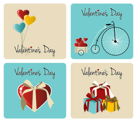 Happy valentines day greeting card retro illustration background set. Vector file available. Vector
