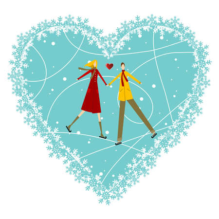 Happy valentines day greeting card background: young couple in winter clothes hand in hand with heart likes shape behind. Vector file available. Vector