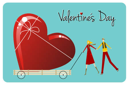 Happy Valentines day greeting card background: young couple carry a heart likes shape gift.  Vector