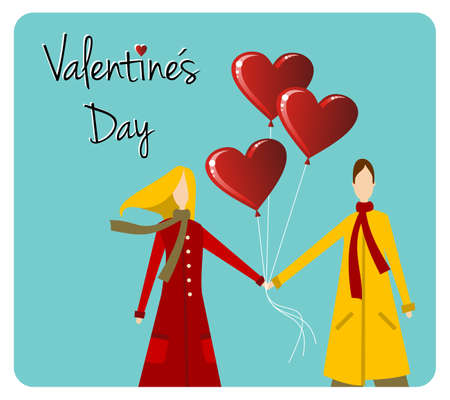 likes: Happy valentines day greeting card background: young couple hand in hand with heart likes shape balloons.