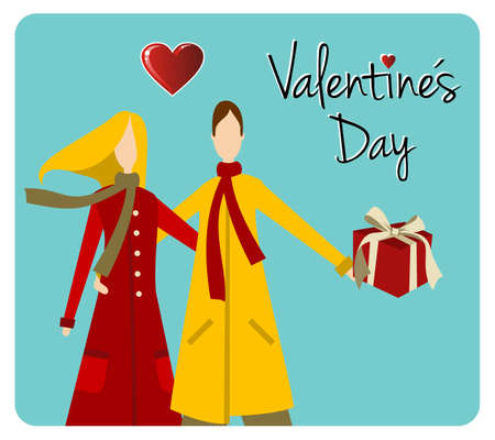 saints: Happy valentines day greeting card background: young couple embraced with heart and gift.