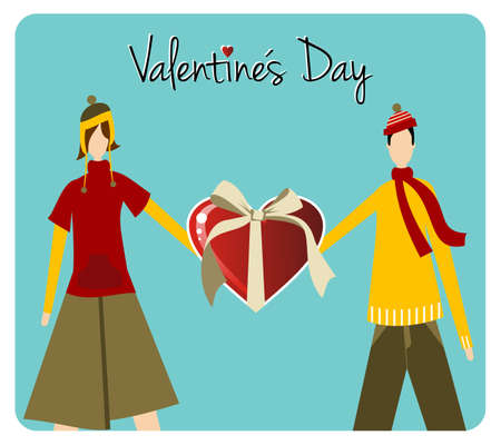 Happy Valentines day greeting card background: young couple holds a heart likes shape gift.  Vector