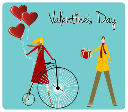 Valentines day greeting card background: Couple with vintage bike and heart shape balloons. Vector