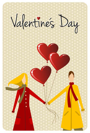 likes: Happy valentines day greeting card background: young couple hand in hand with heart likes shape balloons. Vector file available.