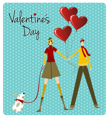 Couple and dog with heart balloons for Valentines day love greeting card background. Vector file available. Vector
