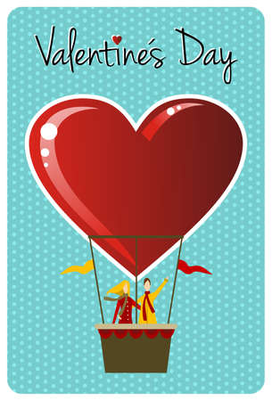 Valentines day greeting card design: Couple in hot air balloon shaped like a heart. Vector file available. Vector