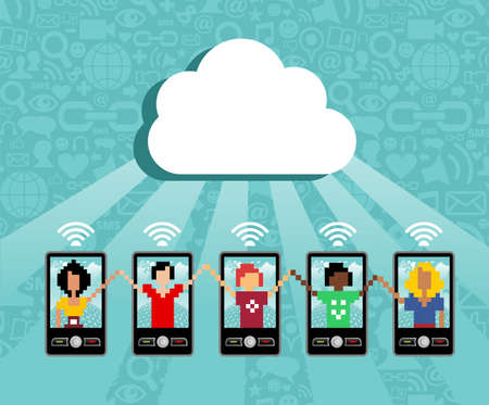 information management: Cloud computing social team under cloud with cell phone connection on blue background.  Vector file available.