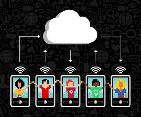 Cloud computing social team under cloud with cell phone connection on black background.  Vector file available. Vector