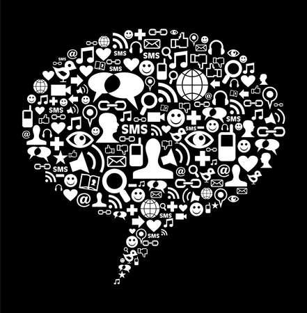 sociologia: Los medios sociales iconos de la textura en el fondo hablar de burbuja composici�n de forma. Vector archivo disponible.