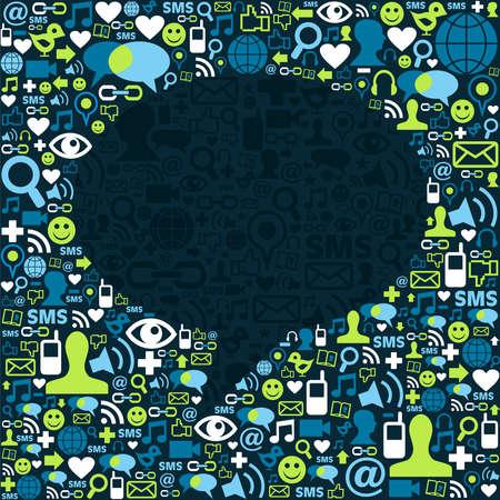 trabajo social: Los medios sociales iconos de la textura en el fondo hablar de burbuja composici�n de forma. Vector archivo disponible.