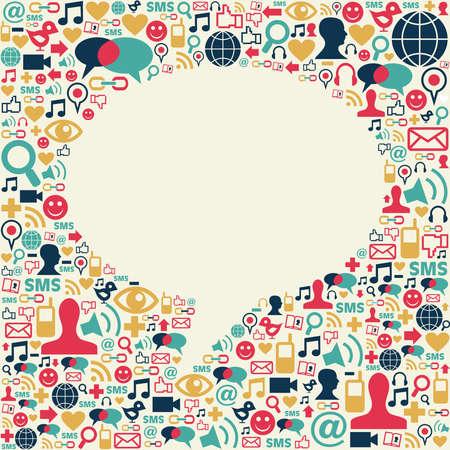 comunicación: Los medios sociales iconos de la textura en el fondo hablar de burbuja composición de forma. Vector archivo disponible.