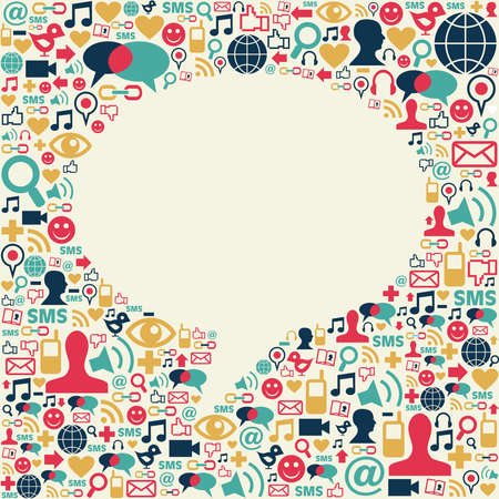 discussion forum: Social media icons texture in talk bubble shape composition background. Vector file available.