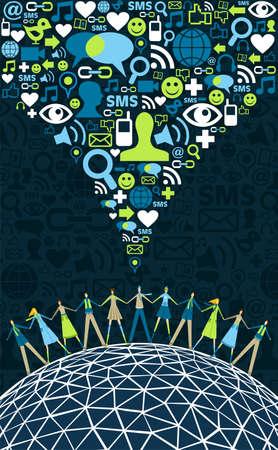 сообщество: Социальные медиа сети концепции социальной текстуру фона иконы. Векторный файл доступны
