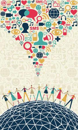 interaccion social: Redes sociales los medios de comunicación el concepto de conexión, con los colores de los iconos de la textura social, sobre fondo claro. Vector archivo disponible