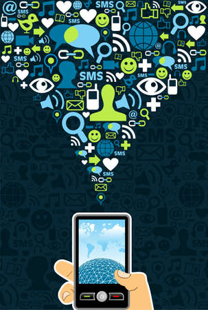 workstation: Hand holding a cell phone under social media icons on blue backgroundVector file available.