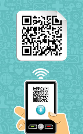 the reader: Hand with mobile phone scans the QR code on blue background.   Illustration