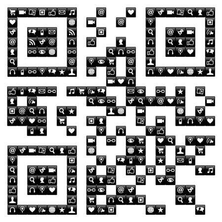 bar code reader: Se�al de c�digo QR hecho con los iconos de los medios de comunicaci�n sociales establecidos en el archivo vectorial blanco y negro disponibles