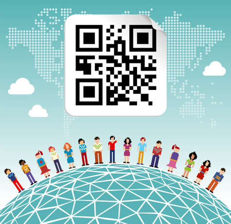Social media network connection concept with social QR code and World map background Vector
