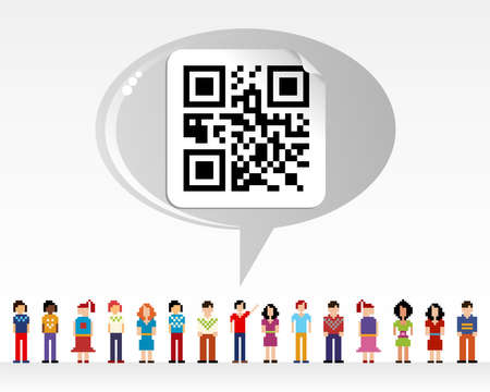 qr: Social media network connection concept with QR code over light background