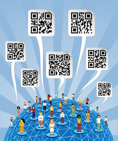 discussion forum: Social media people network connection concept with social QR codes in bubbles speech over World globe