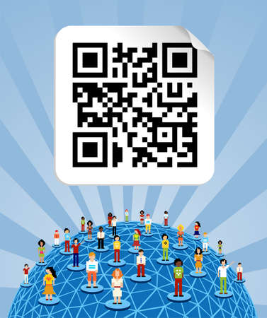 Social media people network connection concept with social QR code and World globe Vector