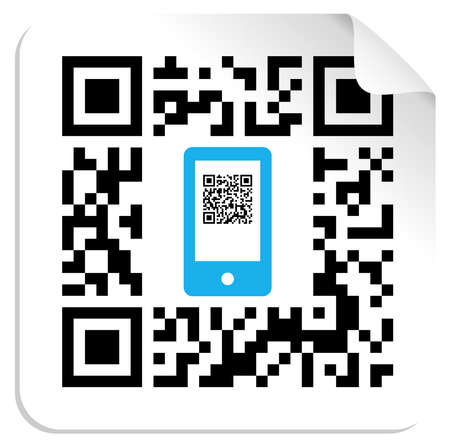 QR code label with the blue mobile icon  Vector file available  Vector