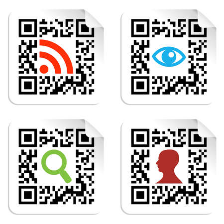 bar code: Social icons in labels set with QR codes sign  Vector file available  Illustration