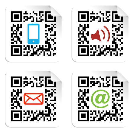 qr: Concept with QR code label with the social media icons  Vector file available  Illustration