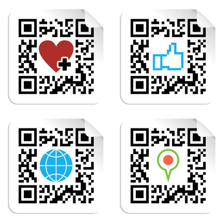 QR code technology concept with social media icons in labels  Vector file available  Vector