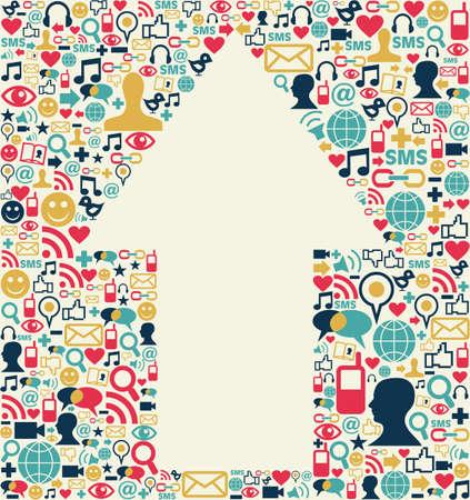sociologia: Sociales iconos de los medios de comunicación creado con la textura de fondo de la composición de flecha forma