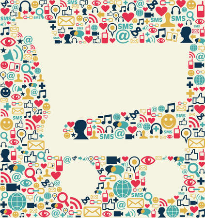 Social media icons texture with shopping cart shape composition background