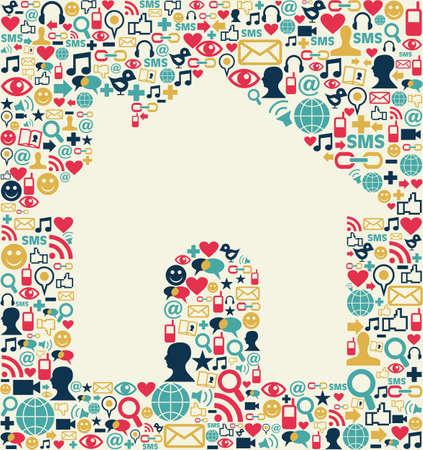 sociologia: Sociales iconos de los medios de comunicación establece la textura con el fondo de la casa composición de forma Vectores
