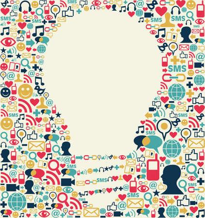 sociologia: Los medios sociales iconos textura con fondo de la composición de la lámpara forma