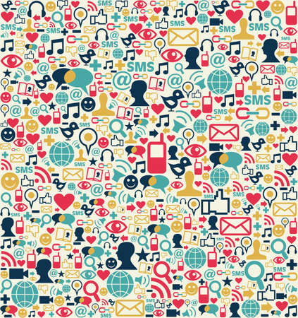 Social media network icon set seamless texture pattern background Vector