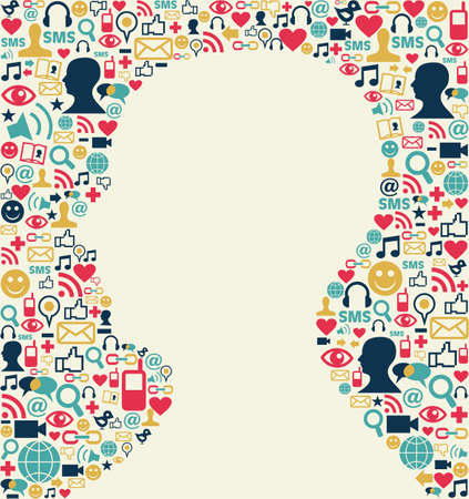 head silhouette: Social media icons texture background with man head silhouette shape  Vector file available