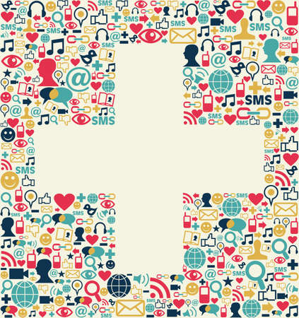 plus sign: Social media icons set texture in plus sign shape composition background