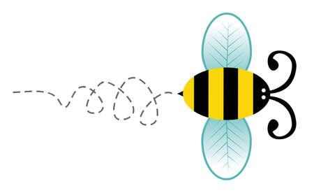 Nette Biene Cartoon-Stil Charakter fliegt über weißem Hintergrund.