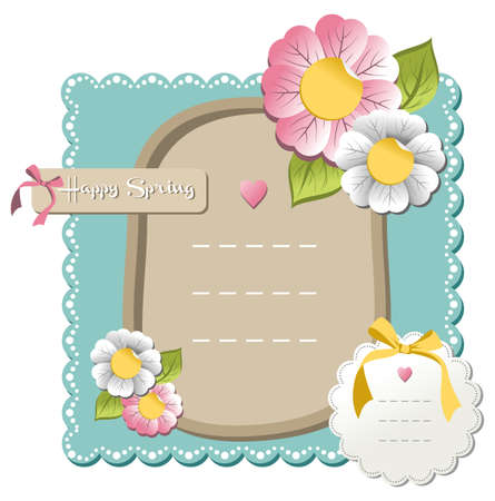 New happy spring label set with season flowers background. Vector file available. Vector