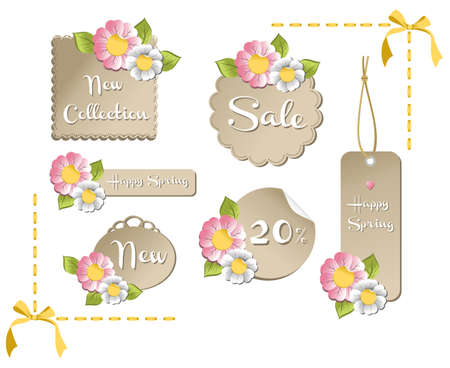 New happy spring labels collection with season flowers background. Vector file available. Vector