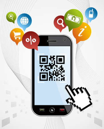 Black smartphone with QR code app on white background  EPS 8 vector, cleanly built with no open shapes or strokes  Grouped and ordered in layers for easy editing  Vector
