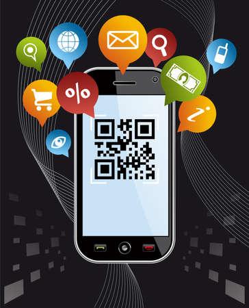 no cell: Smartphone Negro, dispositivo m�vil o tel�fono celular con la aplicaci�n de c�digos QR en el fondo negro EPS 8 vector, limpia construida sin formas abiertas o derrames cerebrales agrupados y ordenados en capas para facilitar la edici�n Vectores