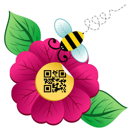 Spring time concept  bee on the spring flower with qr code label isolated over white background  Vector