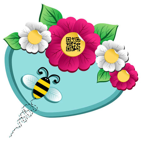 Spring time concept  bee on the spring flower with qr code label isolated over white background Stock Vector - 12855578